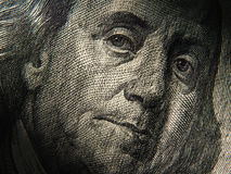 Benjamin Franklin's portrait is depicted on the $ 100 banknotes. Close up royalty free stock images