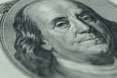 Benjamin Franklin`s portrait on one hundred dollar bill Royalty Free Stock Images