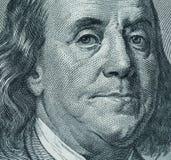 Benjamin Franklin`s portrait on one hundred dollar bill Stock Photo