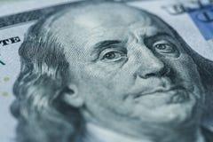 Benjamin Franklin`s portrait on one hundred dollar bill Royalty Free Stock Photography
