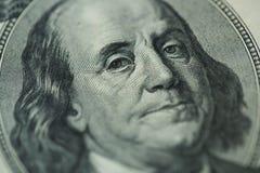Benjamin Franklin`s portrait on one hundred dollar bill Stock Photography