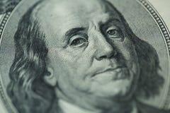 Benjamin Franklin`s portrait on one hundred dollar bill Royalty Free Stock Photos