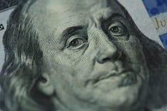 Benjamin Franklin`s portrait on one hundred dollar bill Stock Images