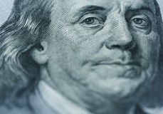 Benjamin Franklin`s portrait on one hundred dollar bill Royalty Free Stock Photo