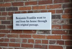 Benjamin Franklin Signboard House da Filadelfia in Pensilvania U.S.A. fotografie stock libere da diritti