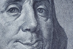 Benjamin Franklin smiling to you. $100 bank note stock photos