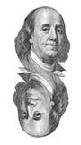 Benjamin Franklin stående på sedel $100. Isolerat på vit. royaltyfri illustrationer