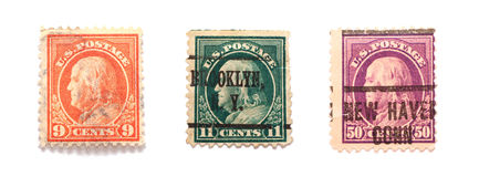 Benjamin Franklin Stamps. Three Benjamin Franklin US postal stamps in different values and colors Stock Photo
