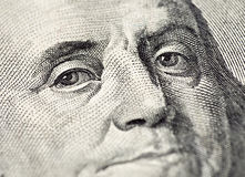 Benjamin Franklin twarz na USA 100 dolarowym rachunku Fotografia Stock