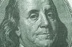 Benjamin Franklin vom Dollarschein Stockbild