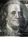 Benjamin Franklins Porträt wird auf den Banknoten $ 100 dargestellt Stockfotos