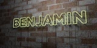 BENJAMIN - Gloeiend Neonteken op metselwerkmuur - 3D teruggegeven royalty vrije voorraadillustratie stock illustratie