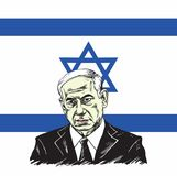 Benjamin Netanyahu avec la conception d'Israel Flag Background Illustration Vector Photos stock