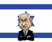 Benjamin Netanyahu com projeto de Israel Flag Background Illustration Vetora Fotografia de Stock Royalty Free
