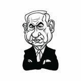 Benjamin Netanyahu, Eerste minister van Israël, Zwart-wit Illustratie Vectorontwerp vector illustratie