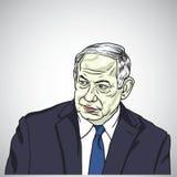 Benjamin Netanyahu, Eerste minister van Israel Caricature Vector, 17 Mei, 2018 Stock Afbeeldingen