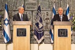 Benjamin Netanyahu en Reuven Rivlin Stock Foto's