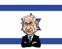 Benjamin Netanyahu met Israel Flag Background Illustration Vector-Ontwerp Stock Illustratie