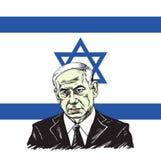 Benjamin Netanyahu mit Israel Flag Background Illustration Vector-Design stock abbildung