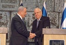 Benjamin Netanyahu och Reuven Rivlin Royaltyfri Fotografi