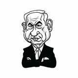 Benjamin Netanyahu, Prime Minister of Israel, Black and White Illustration Vector Design Royalty Free Stock Image