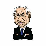 Benjamin Netanyahu, Prime Minister of Israel Illustration Vector Design. Stock Images