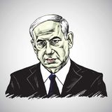 Benjamin Netanyahu, primer ministro de Israel Illustration Vector Design ilustración del vector