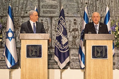 Benjamin Netanyahu and Reuven Rivlin Stock Photos