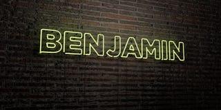 BENJAMIN - Realistisch Neonteken op Bakstenen muurachtergrond - 3D teruggegeven royalty vrij voorraadbeeld royalty-vrije illustratie