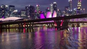 Benjamin Sheares Bridge and Night Skyscrapers of Singapore stock footage