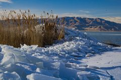 Utah Lake ice Sheets in the winter stock photo