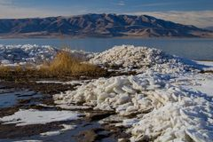 Utah Lake ice Sheets in the winter royalty free stock photo