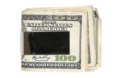Benjamins in the Clip. Money Clip Holding 100 dollar bills Royalty Free Stock Image