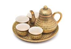 Benjarong porcelain tea set. Benjarong ware is a kind of painted Thai ceramics porcelain, Traditional Thai art and handicraft stock photos