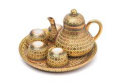 Benjarong porcelain tea set,. Benjarong ware is a kind of painted Thai ceramics porcelain, Traditional Thai art and handicraft, isolated on white with clipping royalty free stock image