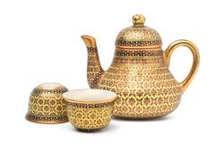 Benjarong porcelain tea set,. Benjarong ware is a kind of painted Thai ceramics porcelain, Traditional Thai art and handicraft, isolated on white with clipping stock photo