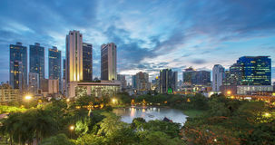 Benjasiri Park at sunset , Bangkok, Thailand Stock Images