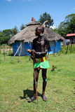 Benna部落男孩- 2012年10月04日, Omo谷,埃塞俄比亚 免版税库存图片