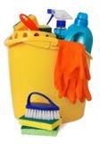 Benna con i rifornimenti di pulizia Fotografia Stock