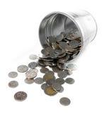 Benna del metallo in pieno con la moneta Immagini Stock Libere da Diritti