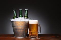 Benna di birra con la tazza su legno Fotografia Stock
