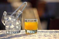 Benna di ghiaccio e vetro di spremuta Fotografia Stock Libera da Diritti