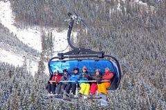 Benne suspendue moderne dans la station de sports d'hiver Jasna, Slovaquie Images stock