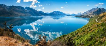 Breathtaking View at Lake Wakatipu, New Zealand. Bennett`s Bluff Lookout, Glenorchy Road, New Zealand -A Viewpoint on one of the most scenic drives in New Stock Photos