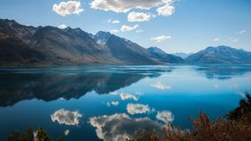 The blue waters of lake Wakatipu, New Zealand Royalty Free Stock Photo