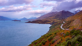 Bennett`s bluff viewpoint on the road from Queenstown to Glenorchy Royalty Free Stock Photography