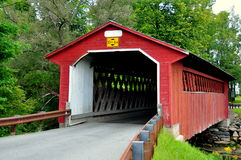 Bennington, VT: Silk Road Covered Bridge. Bennington, Vermont:  The 1840 truss and lattice Silk Road Covered Bridge over the Walloomsac River Royalty Free Stock Image