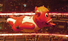 Benny the Bull Flying United Center. An inflatable balloon of Benny the Bull, commonly known as Benny, the official mascot of the Chicago Bulls of the National stock photography