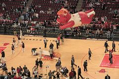 Benny the Bull. An inflatable balloon of Benny the Bull, commonly known as Benny, the official mascot of the Chicago Bulls of the National Basketball Association stock image
