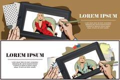 Benommenes Mädchen Hand malt Bild auf Tablette Stockbild